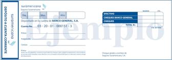 Formato slip de depósito personalizado de Seguros | SURA Banco General.