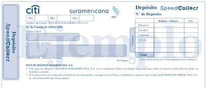 Formato slip de depósito personalizado de Seguros | SURA Citybank